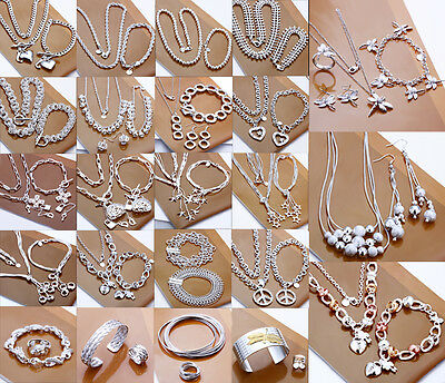 Fashion Gift Solid925 Sterling Silver Jewelry set Bracelet Necklace Ring Earring