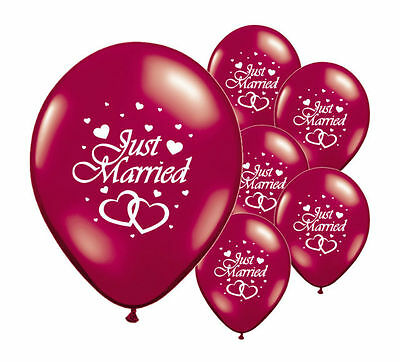 "10 Just Married Burgundy 12"" Helium Quality Pearlised Wedding Balloons (Pa)"