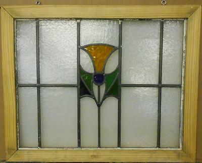 "MID SIZED OLD ENGLISH LEADED STAINED GLASS WINDOW Cute Floral 24.25"" x 19.75"""