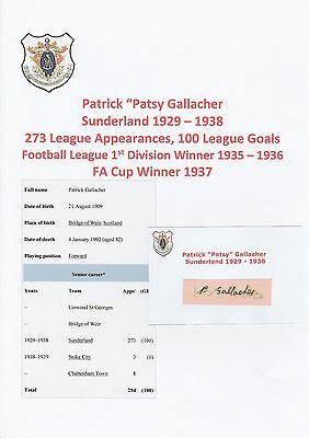 Patsy Gallacher Sunderland 1929-1938 Rare Original Hand Signed Cutting/Card