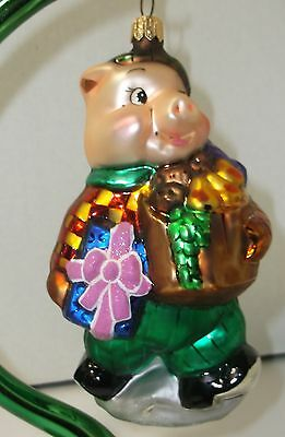Christopher Radko Pig w/Hat Carrying Gifts Fruit Basket Glass Christmas Ornament