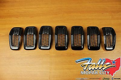 2014-2016 Jeep Cherokee Gloss Black Front Grille Grill Inserts Mopar OEM