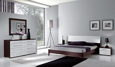 ESF Luxury Contemporary Bedroom Set in White & Wenge Queen Bed 3Pcs Italy