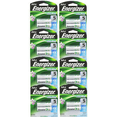 8 Pack Energizer Rechargeable Power Plus AA 2300 mAh Batterie 2 Ea =16 Batteries