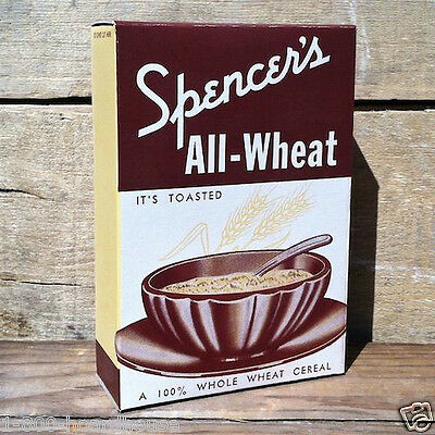 2 Vintage Original SPENCER'S ALL-WHEAT CEREAL Breakfast Box 1930s Art Deco NOS