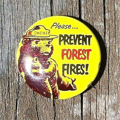 Original SMOKEY THE BEAR PINBACK PIN Badge 1960s Please Prevent FOREST FIRES