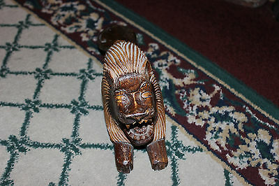 Vintage Wood Carving Of Roaring Lion-Angry Lion-Asian Carving-Detailed-LQQK