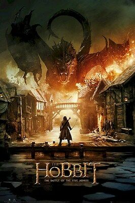 THE HOBBIT ~ SMAUG FIRE 24x36 MOVIE POSTER Battle Of Five Armies 5