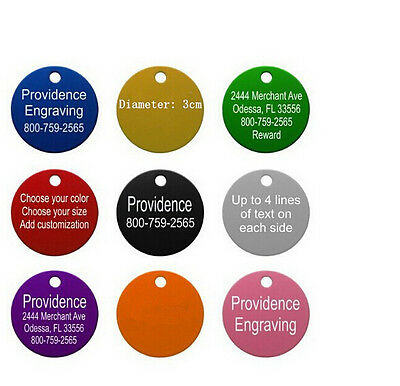 8 Colors Personalized Engraved Pet Dog Cat Tag  Round Customized Aluminum