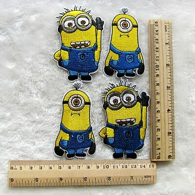 4pcs Minions Embroidered Iron/Sew On Patch Motif Appliqué Kids Gifts