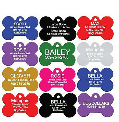 8 Colors Free Personalized Engraved Pet  Tag Dog Cat Customized Aluminum Bone