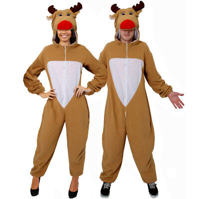 Reindeer Costume Christmas Fancy Dress Fleece Suit Rudolph Adult Moose Suit