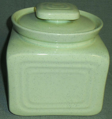 HARD TO FIND 'Cemar Turned Bauer' CANDY JAR SHAPE Green Speckled COOKIE JAR