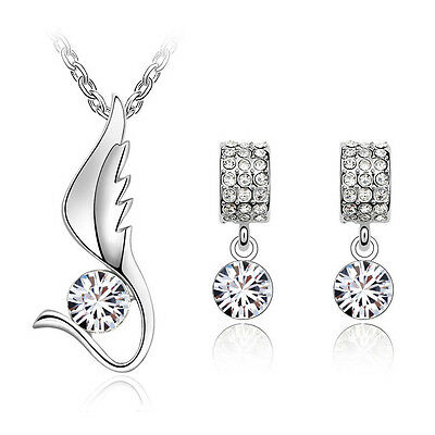 White Jewellery Set Angel Wing Diamond Stud Earrings Pendant Necklace S571