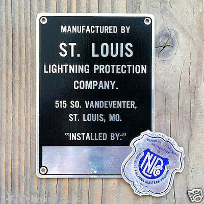 Vintage Original 1940s St. Louis LIGHTNING Protection METAL SIGN + Decal Unused