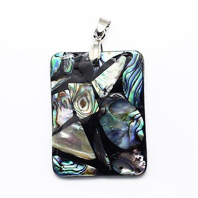 ABALONE SHELL PENDANT RECTANGLE STUNNING UNIQUE 41mm x 31mm