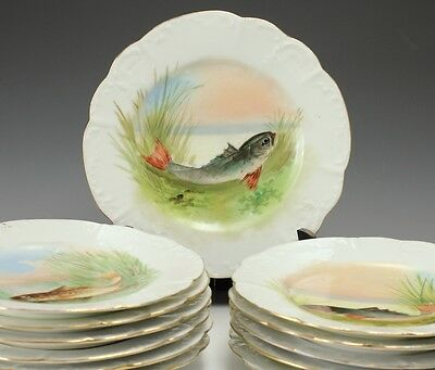 12pc Limoges Game Plates - Handpainted Scenes of Fish in Habitat - Gold Gilt