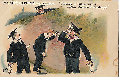 """Tobacco advertising postcard """"Market Reports Illustrated 1905 Hamilton 1d stamp"""