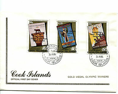 Cook Islands 1984 Olympic Gold Medal Winners FDC