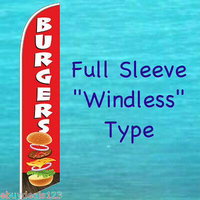 BURGERS WINDLESS FEATHER FLAG Swooper Flutter Banner Advertising Sign F25-3068