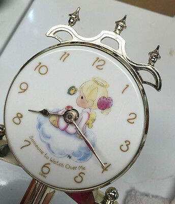 """PRECIOUS MOMENTS Porcelain Clock """"Someone to Watch over Me"""" Theme."""