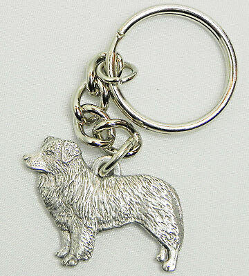 Border Collie Dog Keychain Keyring Harris Pewter Made USA Key Chain Ring