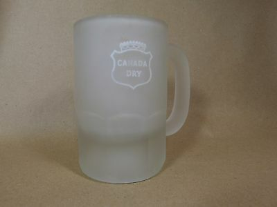 Vintage Canada Dry Frosted Glass Mugs Retro 8 Ounce Coffee Ginger Ale Thick