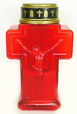 Red LED Cross Memorial Grave Candle Remembrance Gift