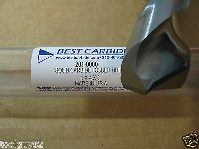 "1"" (1.0000) JOBBER (STD) CARBIDE 25 deg HELIX 118 deg SPLIT PT DRILL ""NEW"""