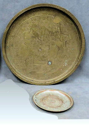 LOT Of 2 Persian BRASS Trays INLAID and engraved with hunting scene