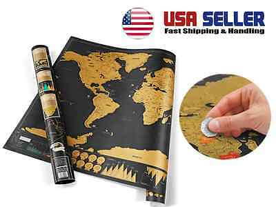 Scratch Off World Map Deluxe Edition Poster Travel Personalized Journal Traveler