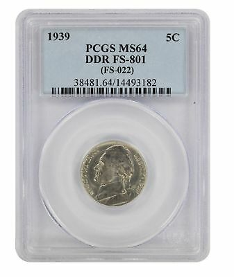 1939 Jefferson Nickel MS64 PCGS DDR FS-801 Cherrypicker Double Die Reverse