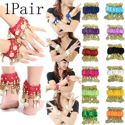 Belly Dance Elastic Polyester Arm Ankle Wrist Cuff Gold Coin Bracelet USA Seller