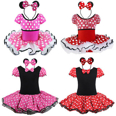 Girls Kids Minnie Mouse Dress Up Party Fancy Costume Cosplay Ballet Tutu Skirts