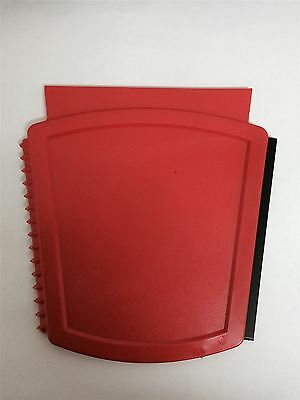 4 x 3 WAY CAR VAN LORRY ICE SCRAPER WITH RUBBER RED