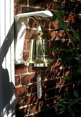 "Extra Large 7"" Solid Polished Brass Ship Hanging Bell With Rope Lanyard"