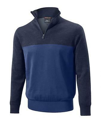 Mizuno Hayate Zip Neck Sweater - Mens Golf Sweater - Blue - 250175-5050