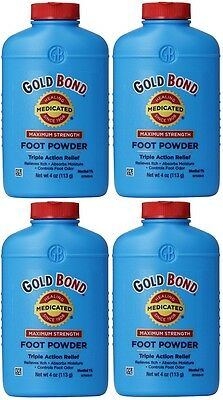 4 Pack Gold Bond Maximum Strength Foot Powder 4 Ounce Each