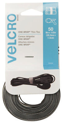 Velcro Brand Reusable Thin Ties 8in x 1/2in 25 Black 25 Gray For Wires & Cords
