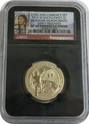 2015 W Sacagawea from Coin and Currency Set NGC Early Release SP69 Enhanced Blac