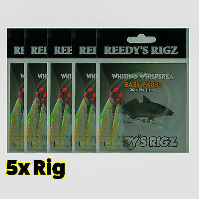 5 Paternoster Fishing Rig Whiting Rigs 30lb fluorocarbon leader Whitng Flasher