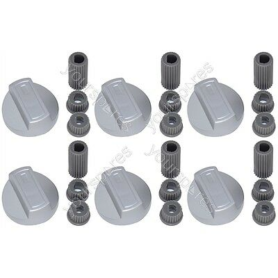 6 X Flavel Universal Cooker/Oven/Grill Control Knob And Adaptors Silver