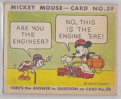 1935 Gum, Inc. R89 Mickey Mouse Card No 39 Series 1 Are You the Engineer?