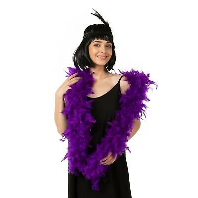 Thick real feather boa party fancy dress showgirl burlesque 200cm Purple Luxury
