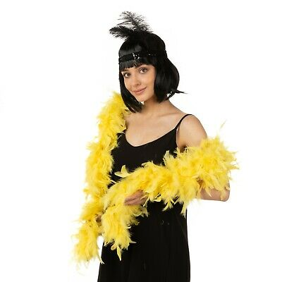 Thick real feather boa party fancy dress showgirl burlesque 200cm Yellow Luxury