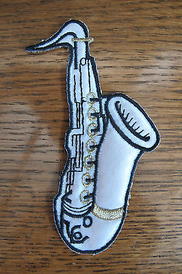 """#3517 4 1/4"""" White,Black Saxophone,Musical Instruments Embroidery Applique Patch"""