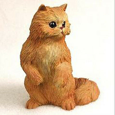 PERSIAN RED CAT Figurine Statue Hand Painted Resin Gift