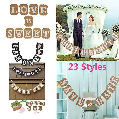Baby Shower Banner Wedding Party Bunting Photo Props Hanging Decor Sign 23 Style