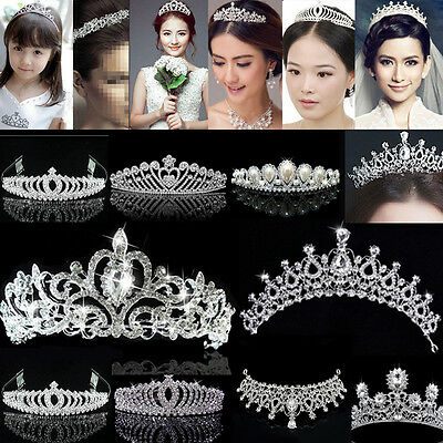 Bridal Princess rhinstone Crystal Hair Tiara Wedding Crown Veil Headband silver