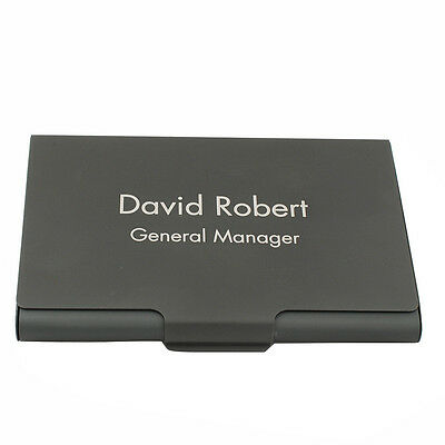 Personalized Engraved Business Card Holder Case Black Metal Brushed Men Gift